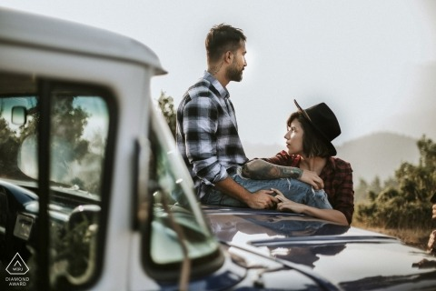 Couple on the dodge truck - Mersin Engagement Photo Shoot