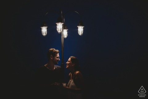 Chatting under the street lights - Mersin Engagement Photoshoot with Couple