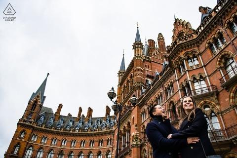 London engagement shoot outside St Pancras station -  Engagement Photographs