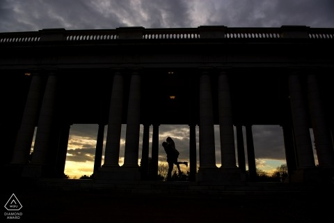 Cheesman Park Engagement | Denver Wedding Photographs | Bride and groom silhouette