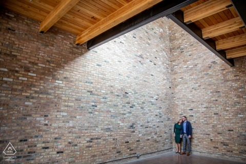 high wall portrait with couple - Illinois Engagement Photographer