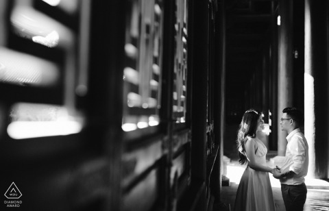 Vietnam Black & White Engagement Photo Session at Night