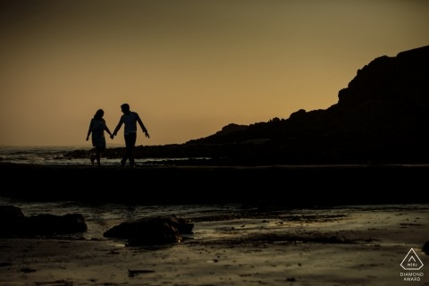 Sunset engagement shoot at St Ouens, Jersey, CI - beach photo session