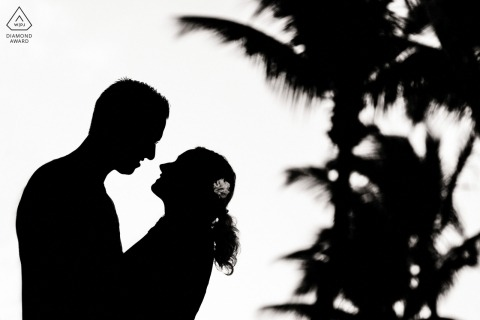 Loveshoot in Mauritius - verloofd paar dat met palmen wordt gesilhouetteerd voor mooi portret