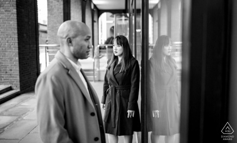Couple Reflection - London Engagement Photograph in Black and White