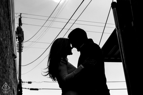 omaha engagement session - urban silhouette on the streets with powerlines