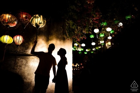 Da Nang Engagement Photograph with couple and Lanterns and a Silhouette
