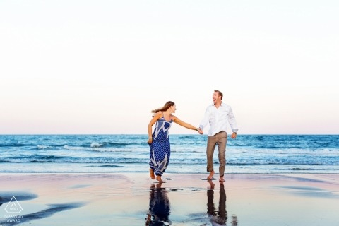 Asbury Park New Jersey Engagement Session with Crossed Keys Estate Wedding couple at the Beach