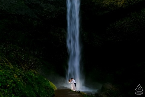 Portland Photographer - Oregon Coast Engagement Shoot - Waterfall Engagement