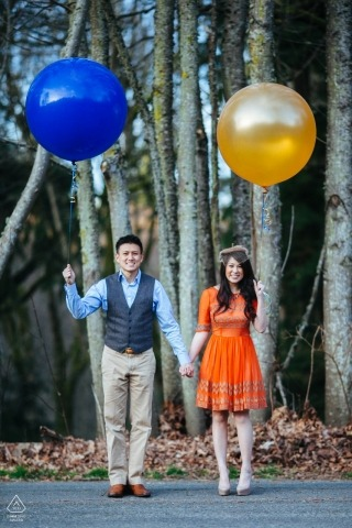 WA Creative Engagement Couple Shoot - Happy couple holding hands and balloons