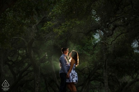Romance Under the Rain in the California Trees - Engagement Photos