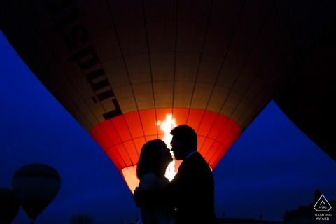 cappadocia engagement shoot with hot air balloons
