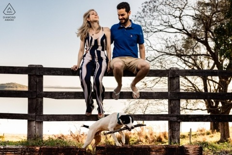 thank you dog with stick - São Paulo Engagement Photograph of Couple sitting on wood fence