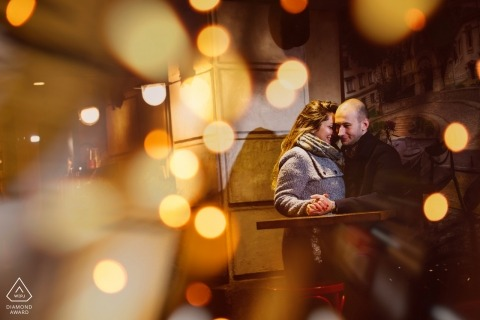Sofia engagement photo of couple at a bar