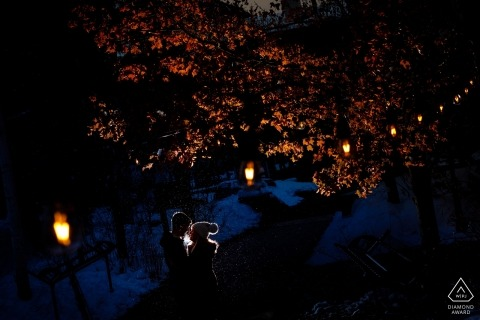 Back-lit engagement photo of this couple in the town of Vail, CO.