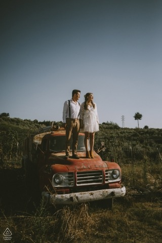 Mersin/Turkey engagement portrait session - love on a Bedford - abandoned truck in an open field