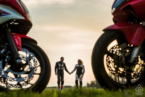 Brno motorcycle engagement portrait session