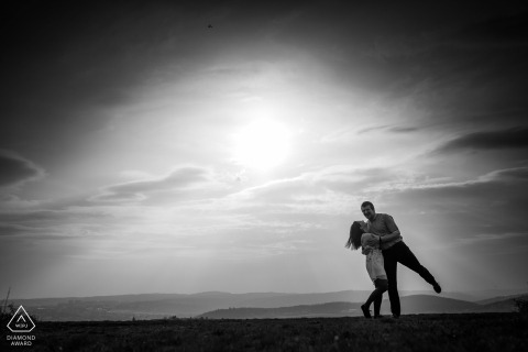 Czech Republic pre-wedding portraits in the afternoon | Black and white engagement photography