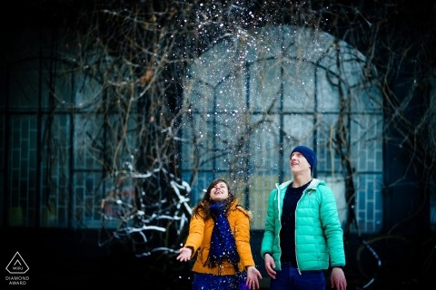 Sofia, Bulgaria pre-wedding portrait session - Snowy Love