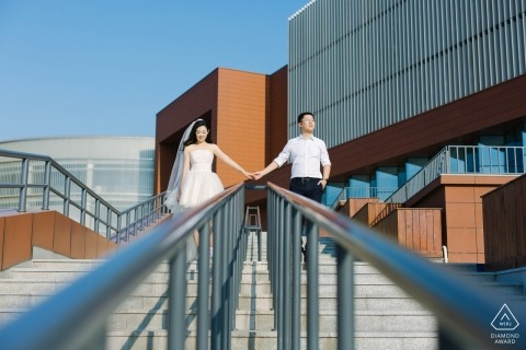 TianJin Summer prewedding portrait photo shoot session on the stairs with hand rails