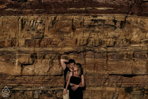 Stellenbosch portrait photo shoot - Pattern created by the rock wall and the couple in a more sensual pose