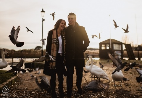 Christchurch Priory engagement photo shoot - A walk with the pigeons