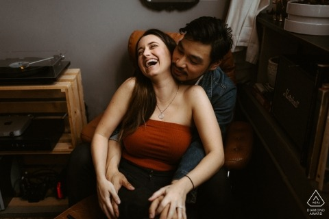 Downtown Los Angeles engagement photo shoot indoors - Those who laugh together, stay together
