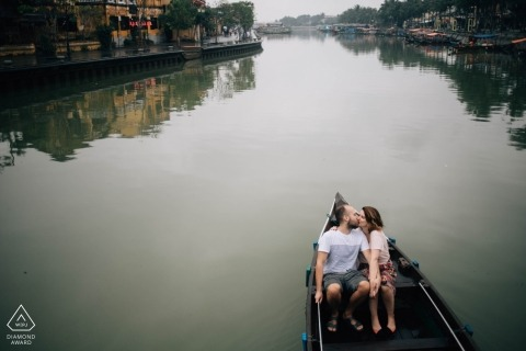 Pre-wedding portrait photo shoot in a boat on the river in Hoi An Vietnam