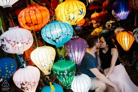 Pre-wedding portrait session in Hoi An Vietnam with multi colored lanterns