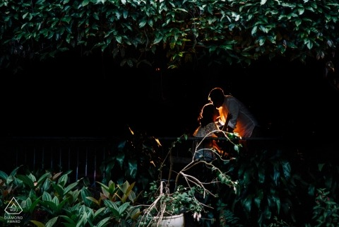 Da Lat, Vietnam pré-mariage photos | Un baiser rougeoyant au milieu des arbres