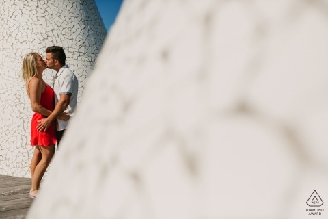 Verlovingsspruit in het Strand van Miami, Florida - zonnige de zomerkussen