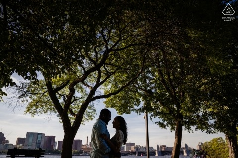 Boston, Massachusetts engagement session under a canopy of trees in the shade