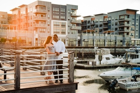 Boston, Massachusetts engagement photographer | portrait session at the Marina docks