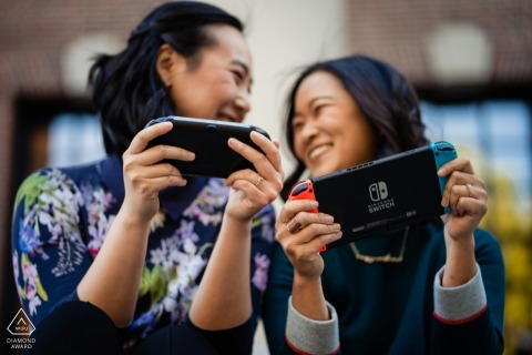 playing Nintendo Switch during engagement session at Harvard Square