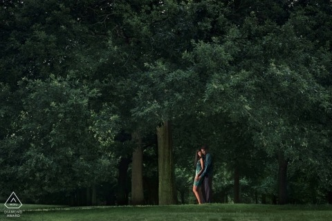 Greenwich, UK portrait session at the park with trees and a light
