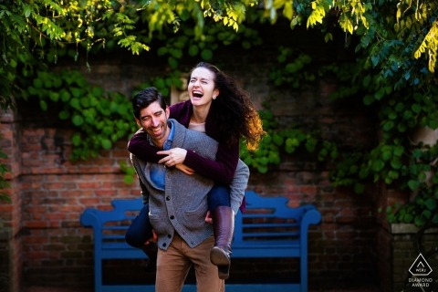 Pre-wedding portraits in Chicago, IL - Piggyback Rides for this newly engaged couple