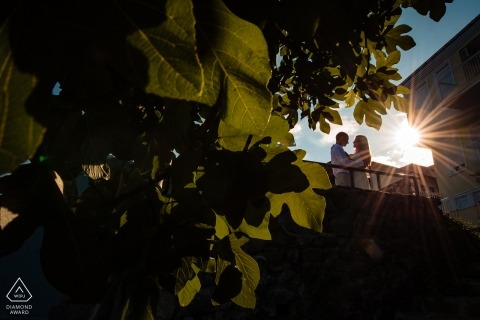 Sozopol, Bulgaria pre-wedding photo session | Sun Flares and leaves. Love and adoration.