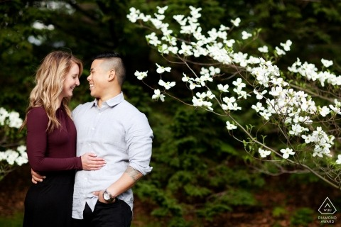 Boston, Massachusetts Couple with flower tree in the park - engagement portrait session