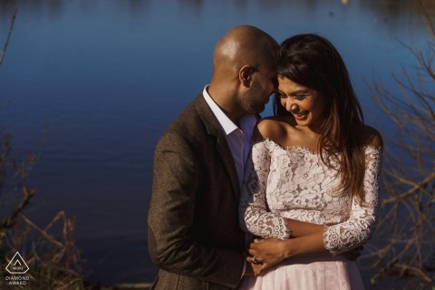 Pre Wedding shoot in London | calm waters behind this couple in love
