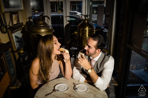 North End Boston Engagement Session au café