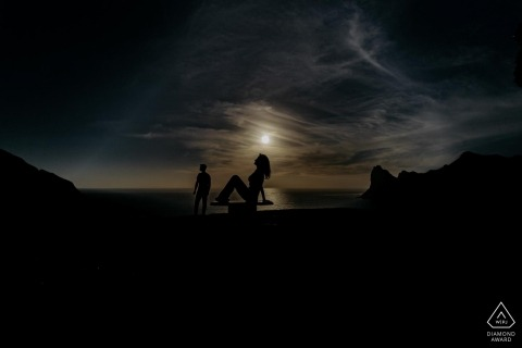 Cape Town Engagement Photography Session with a silhouette of a couple in an incredible sunset
