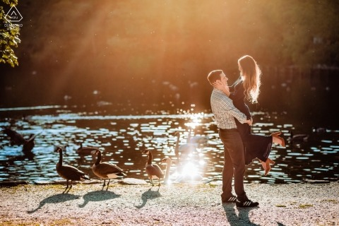 "Avalon Park and Preserve Engagement Portrait Photographer: ""There were ducks and a swan in the pond which made this picture more interesting."" Serving RI, NY, VT, MA and CT for wedding photography"