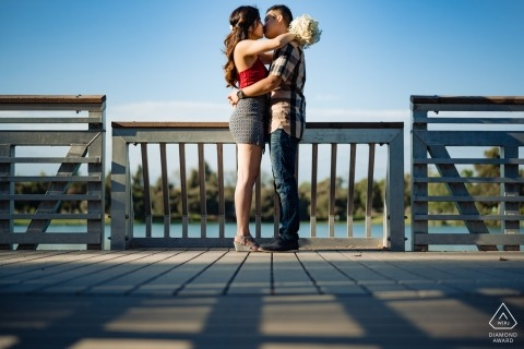 California Engagement Portrait on the Dock by the Water.