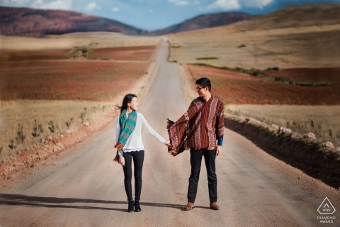 Cusco, Peru Engagement Photography - A couple in the Sacred Valley of Cusco, Peru