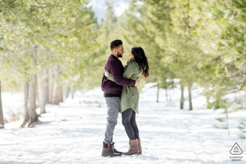 South Lake Tahoe Winter Snow Engagement Shoot On the path in the trees