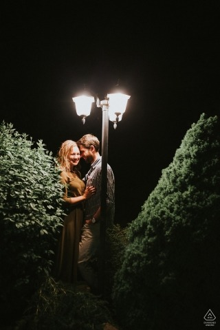 Topoľčany, Slovakia - Lamp in old town was great opportunity for late photo during their engagement photo session