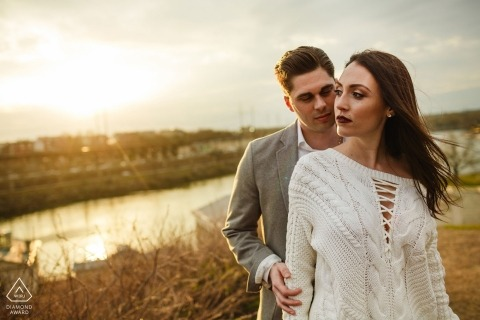 The Waterworks Philadelphia Engagement Portrait - Great light. Cool couple. Wind blowing. Done.