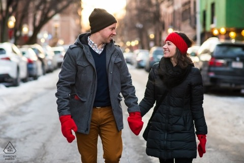Beacon Hill engagement photo session in cold winter weather