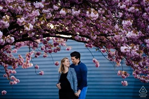 Una pareja se toma de las manos debajo de un árbol que florece con flores rosas en Wijnegem durante esta sesión de fotos de un fotógrafo de Antwerpen, Flanders, en Amberes.