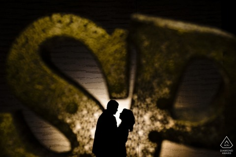 The couple's silhouette can be seen as they stand with each other in the Palace of Fine Arts during their engagement shoot by a San Francisco, CA photographer.